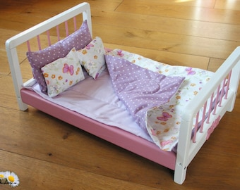 18 inch doll bed, wood handmade, cotton & wool bedding, waldorf steiner wooden toy, large doll furniture, american doll bed