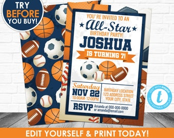 Sports Birthday Party Invitations Etsy