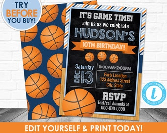 INSTANT DOWNLOAD Printable Basketball Invitation Birthday Sports Party Invite