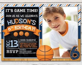 Basketball Printable Birthday Photo Invitation - DIY - PDF & JPG Files only