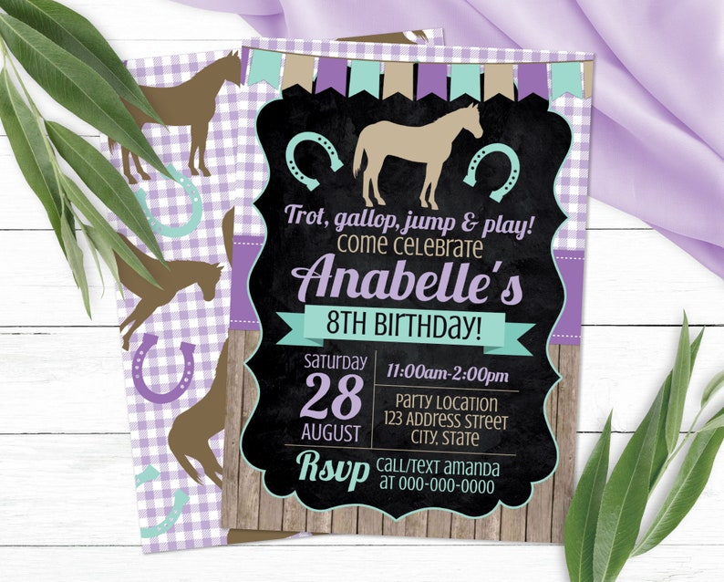 Editable Horse Birthday Invitation Horse Invitation Horse image 0