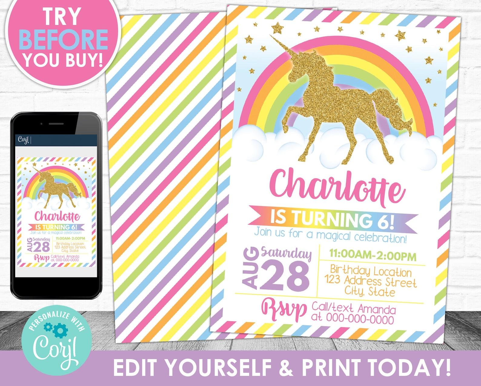 Printable Unicorn Invitations Page Two