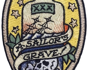A Sailors Grave - Embroidered Morale Patch Based on The Nautical Tattoo with Hook and Loop Backing