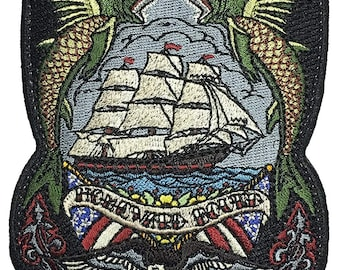 Homeward Bound Embroidered Morale Patch Based on The Nautical Tattoo with Hook and Loop Backing