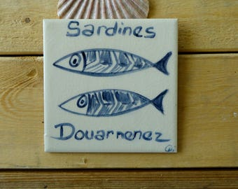 Ceramic Tile Hand Painted Patterns 3 Sardines Wall