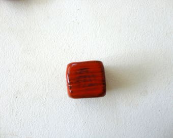 red square bead in ceramic-handmade