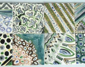 8 tiles handpainted multicolored geometric patterns