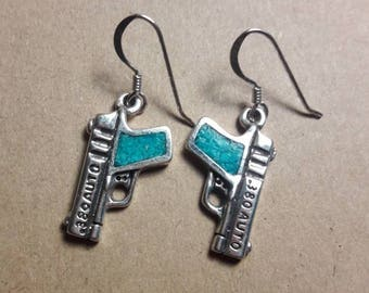 Sterling Silver Turquoise Inlay .380 Auto Handgun Earrings- Hallmarked