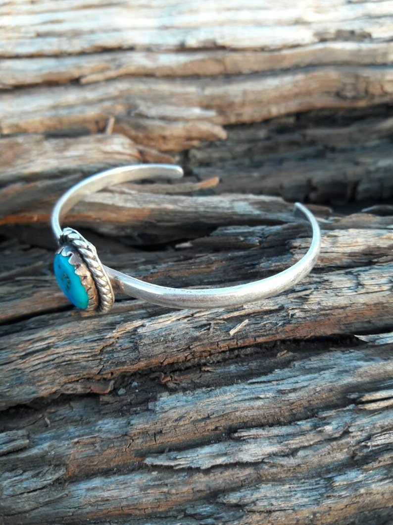 Vintage Hecho en Mexico Sterling Silver /& Turquoise Cuff