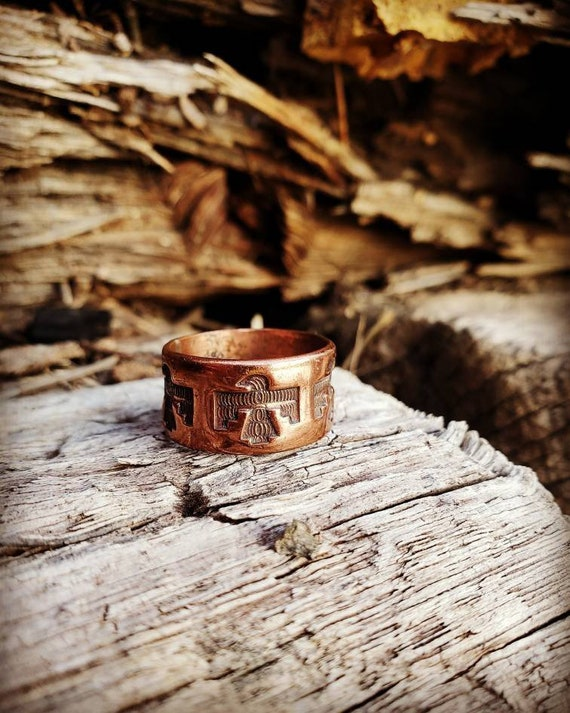 Size 7 Vintage Bell Trading Company Solid Copper Thunderbird Ring