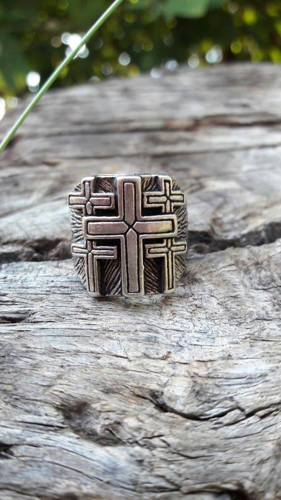 Vintage 1980's Crosses G&S Biker Ring - Size 7
