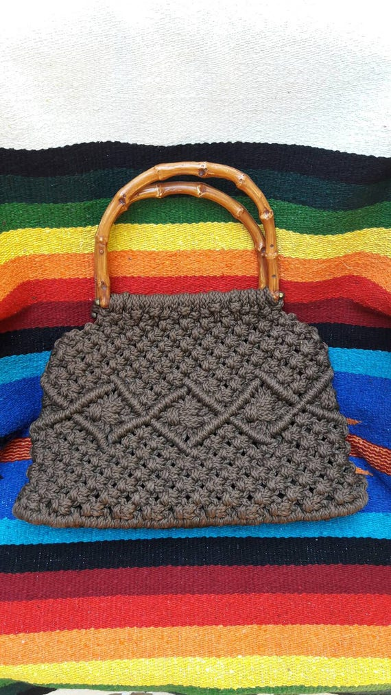 1970's Bohemian Brown Macrame Handbag