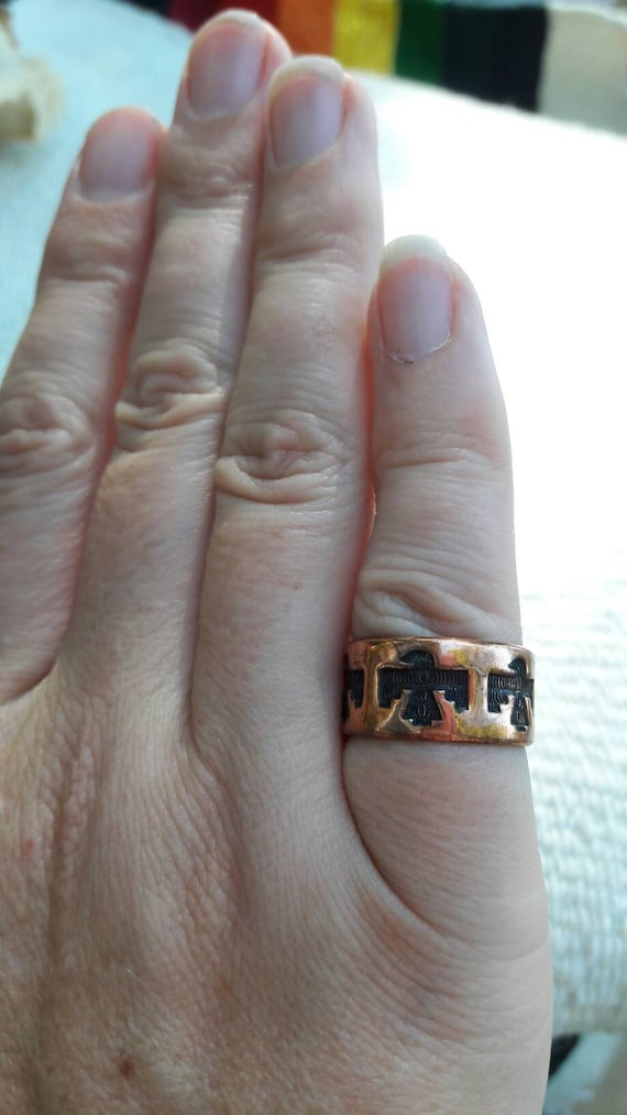 Hand Carved Thunderbird Ring in Copper