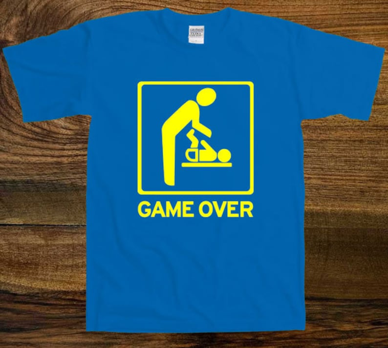 02ca3874 GAME OVER funny T-shirt Tee Tshirt For Future Dad New Dad | Etsy