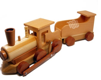 Locomotive and coach - wood toy collectible
