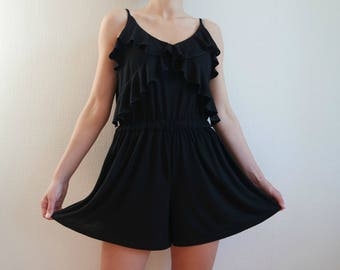 Vintage Black Summer Jumpsuits, Black Romper, Cotton Shorts Jumpsuits, Sleeveless Summer Overalls, Size M