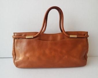d03c9d3e74 Vintage Cognac Brown Leaher Handbag BrownTop Handle Bag Brown Leather Purse  Made in France