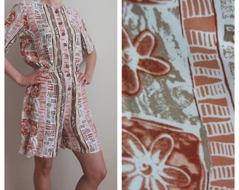 Vintage Summer Jumpsuit, Abstract Scart Shorts Overalls, Summer Romper, Shortsleeves Jumpsuit, Size M, 1990s