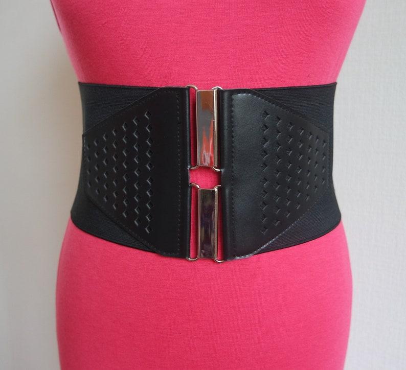 265ff74da3 Women s Black Corset Belt Black Wide Belt Faux Leather