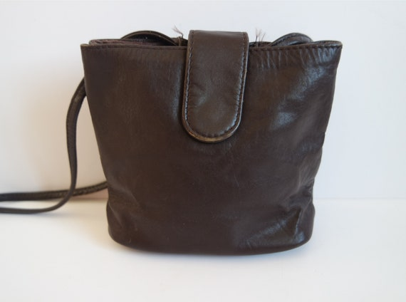 c635d865d88 Vintage Brown Leather Crossbody Bag Mini Shoulder Purse   Etsy