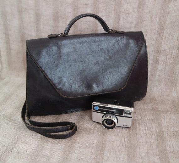 Vintage Black Leather Briefcase Black Leather Shou