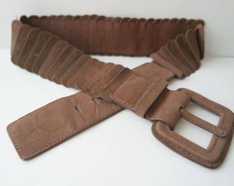 Vintage Women's Brown Faux Leather Belt, Elastic Belt, Stretch Belt, Faux Leather Waist Belt