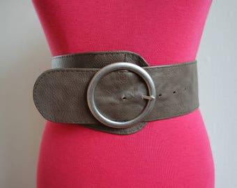Vintage Faux Leather Belt, Gray Vegan Waist, Hips Belt, Wide Belt, Buckle Belt