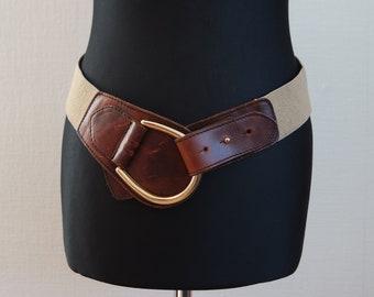 Vintage Women's Brown  Waist Belt,  Stretched Belt,  Elastic Belt, Hips Belt