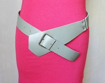 Vintage Women's Gray Belt, Faux Leather Hips Belt,  Vegan Waist Belt, Buckle Belt,  1970s/1980s