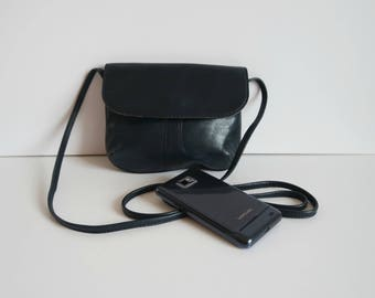 Vintage Small Leather Crossbody Bag, Dark Blue Leather Shoulder Bag,  Blue Leather Festival Bag
