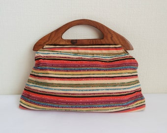Vintage  Textile Handbag, Striped Handbag Decorated With Beads, Wooden Handle Bag