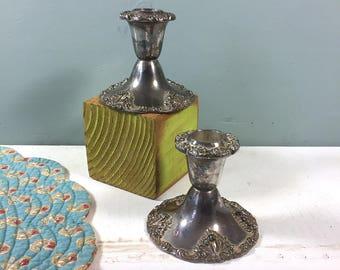 Vintage Candle Holders, Pair Godinger Silver Plate Candle Holders, Silver Candle Holder, Candlestick Holders, Fancy Decorative, Wedding