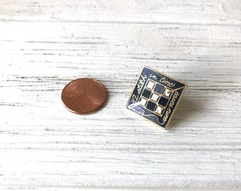 Vintage Enamel Metal Pins, Stitch In Time Pin, Lapel Pin Back, Tie Pin, Gift For Seamstress, Sew Sewing, Black White Gold, Stocking Stuffer