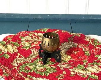 Decorative Brass Candle Holder With Black Wood Stand, Asian Zen Candleholder, Tealight Votive Candlestick, Meditation Spa Relaxing