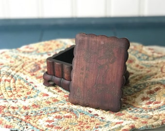 Vintage Japanese Cigarette Box, Wooden Cigarette Box, Vintage Desk Box, Asian Zen, Stork Bird, Tobacco Box, Tobacciana, Cigarette Cases