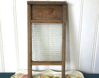 Unique Glass Wash Board, Vintage Washboard, Two In One Antique, Primitive Rustic Decor, Log Cabin Decor, Farmhouse Laundry Room Decor