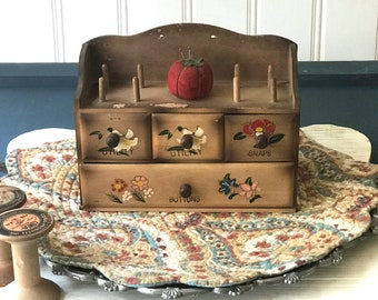 Craft Room Organization, Sewing Box, Gift for Seamstress, Vintage Wall Decor, Sweet Cute Fun, Cottage Chic, Rustic Primitive, 1980s 1970s