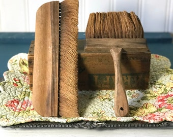 Vintage Natural Brushes, Fiber Brushes, Long Wide, Large Retro Old, Antique Wood Wooden Rustic Farmhouse Decor, Artist Tools Wallpaper Paint