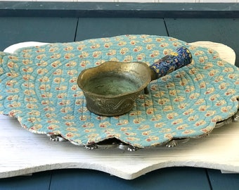 Vintage Ornate Brass & Cloisonné Chinese Silk Iron, Brass Asian Scoop, Dragon Zen Oriental, Footed Ladle, Gold Blue Yellow Red