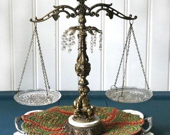 Vintage Hanging Brass Scale, Ornate Cherub, Hollywood Regency, Glass Trays, Decorative Pretty, Office Decor, Lawyer Scale, Judge, Attorney