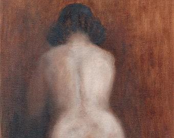 Female Nude, Traditional Art, Classical Art, Nudes, Sepia,  Female Art, Art Print, Oil Painting