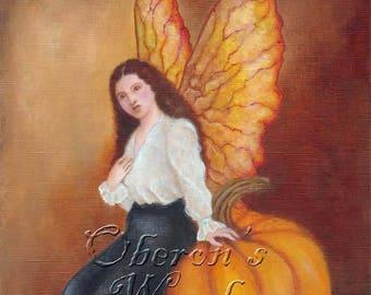 Faerie Painting, Fairy Art, Pumpkin Faerie, Samhain, Autumn, Halloween Art, Fall Art, Thanksgiving Art, Pumpkin Art Print, ( A4 Print )