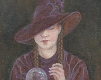 Witchcraft, Witch Painting, Witch Art Print, Witch, Crystal Ball, Gypsy Witch, Pagan Art, Wicca, Halloween, Art Print, ( A4 Print )