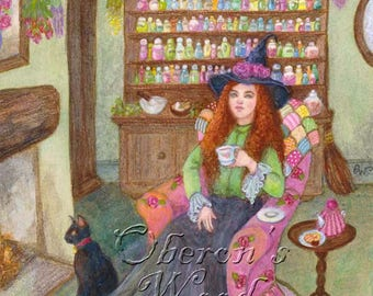 Witchcraft, Witch Painting, Wicca, Witch, Black Cat, Pagan, Potions, Herbs, Halloween Art, Witches' Brew,  Print ( A4 Print )
