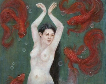 Mermaid Art, Mermaid Painting, Siren, Goldfish Painting , Elemental Art, Bubbles,  Mermaid Art Print, Oil Painting, ( A4 Print )
