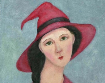 Witch Painting, Witchcraft,  Witch, Modigliani Style, Witch Hat, Pagan Art, Wicca, Halloween, Art Print, ( A4 Print )