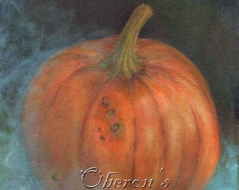Pumpkin Art, Orange Pumpkin, Halloween Art, Fall Art, Thanksgiving Art, Blue Chiffon, Vintage Halloween ( A4 Print )