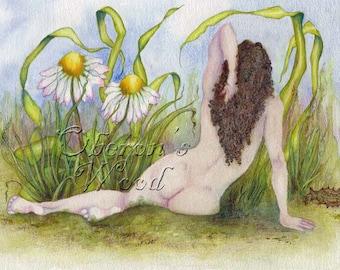 Faerie Art, Fairy Art, Daisies, Faerie in the Grass, Fairy Print, Watercolour ( A4 Print )