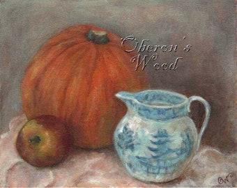 """Pumpkin Art, Spode Jug, Autumn, Halloween Art, Fall Art, Thanksgiving Art, Still Life, Art Print ( 8"""" x 10"""" )"""