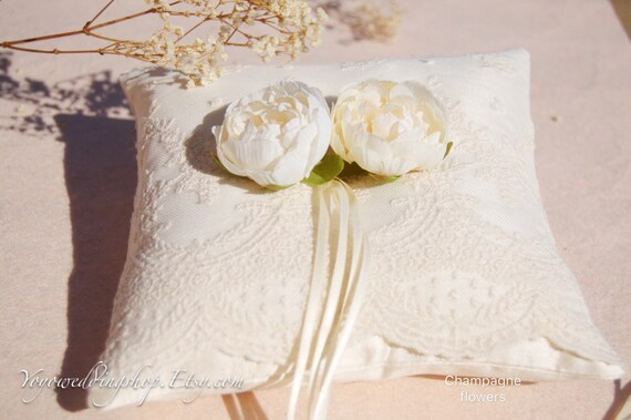 Silk Wedding Ring Pillow Champagne Flowers Wedding Ring Etsy